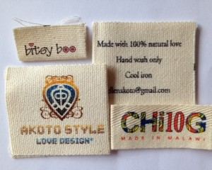 100% Cotton Fabric Clothes Labels