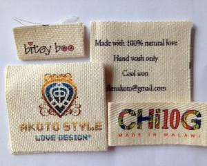100% Cotton Fabric Clothes Labels